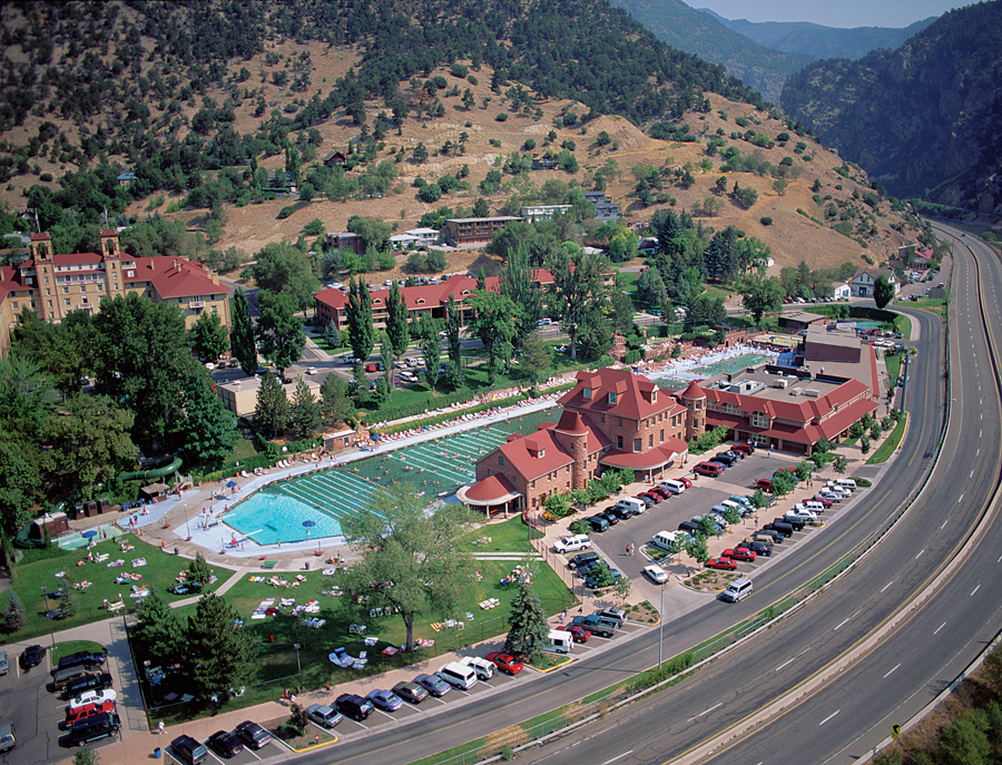 Aerial View of Hot Springs Lodge & Pool