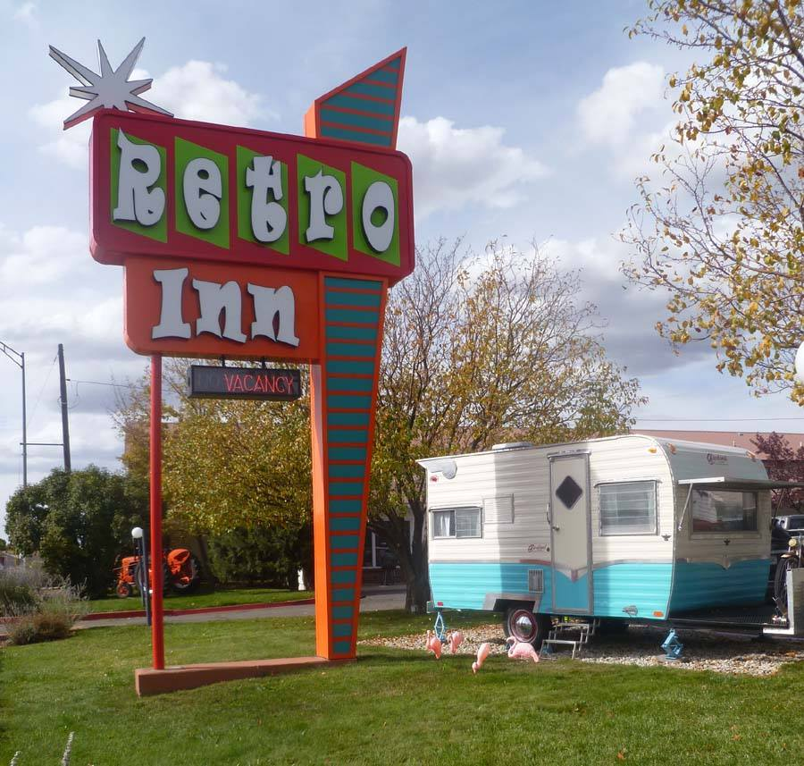 Retro Inn Sign and Camper