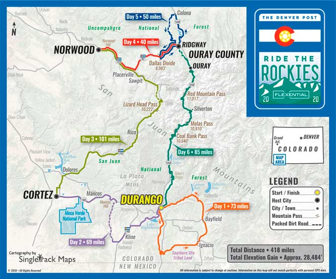 2020 Ride the Rockies Tour Route
